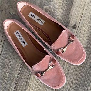 Steve Madden pink velvet loafers